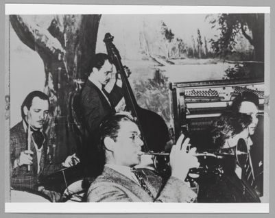 Benny Strickler, cornet, with Lou Vann, drums; Joe Blackburn, bass; and unidentified musicians in Los Angeles, 1937