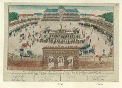 Vue du plan du <em>Champ</em> <em>de</em> <em>Mars</em> tel qu'il a été décoré pour la Conféderation du 14 Juillet 1790 et les elevations exact des trois principaux edifice tel que l'autel l'amphitheatre ou etoit placé le Roi et les deputés <em>de</em> l'Assemblée nationale & ainsi que l'arc <em>de</em> triomphe avec toutes ses inscriptions... : [estampe]