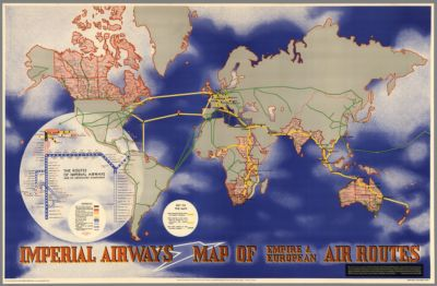 Air Map Of The World.Hammond Air Age Map Of The World A Polar Projection Garden City