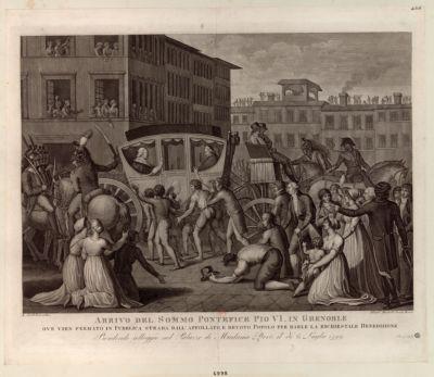 Arrivo del Sommo Pontefice Pio VI in Grenoble ove vien fermato in Publica strada dall'affollato, e devoto Popolo... : [estampe]