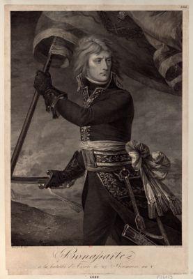 Bonaparte à la bataille d'Arcole le 27 brumaire an V [estampe]