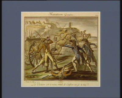 Maratson grenadier la victoire est à nous, rends le caisson ou je te tue. 9 septembre <em>1793</em>. v.s. : [estampe]