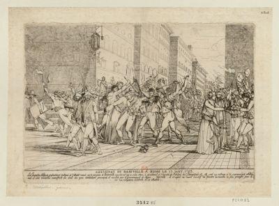 Assassinat de Basseville à Rome le 13 janv. 1793 la Convention nationale profondément indignée de l'attentat commis sur la personne de Bassville, considérant que ce crime atroce, le dévastément et l'incendie du palais de l'Académie etc. etc. sont un outrage à la souveraineté nationale et une violation manifeste du droit des gens... : [estampe]