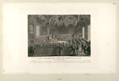 Séance extraordinaire tenue par Louis XVI , au Palais le 19 novembre 1787 le cy-devant Roi fait enregistrer un édit portant création d'un emprunt pendant cinq ans... : [estampe]