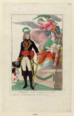 Buonaparte couronné en Egypte par la Victoire [estampe]