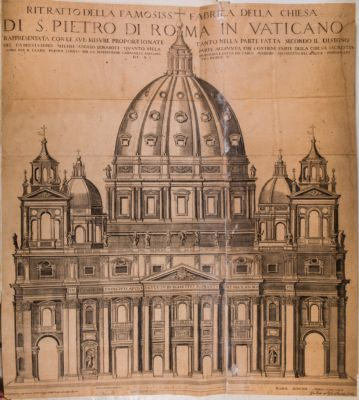 Ritratto della famosissima fabrica della chiesa di San Pietro di Roma in Vaticano