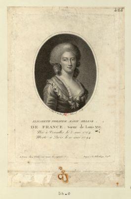 Elisabeth Philipine Marie Hélène de France, soeur de Louis XVI née à Versailles le 3 mai 1764, morte à Paris le 10 mai 1794 : [estampe]