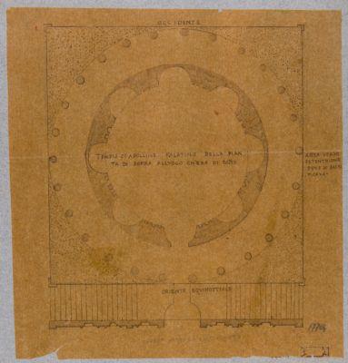 Palatino, pianta di un tempio rotondo (di Apollo?)