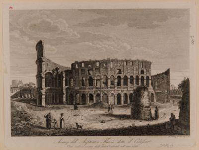 Colosseo visto dai piedi del podio del tempio di Venere e Roma