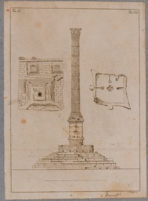 Colonna di Foca, alzata, pianta e imposta