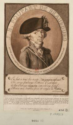 J.B. Poupart de Beaubourg ecuyer, ancien capit.ne de dragons ch.er de l'ordre du merite militaire de St Philippe, né en 1755, un des braves citoyens qui ont eû le plus de part à la Révolution... : il fut envoyé en parlementaire à la Bastille pour demander raison au gouverneur Delaunay... : [estampe]
