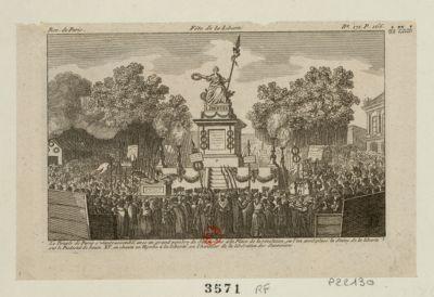 Fête de la liberté le peuple de Paris s'etant rassemblé avec un grand nombre de Savoisiens à la place de la Révolution, ou l'on avoit placé la statue de la Liberté sur le piedestal de Louis XV on chanta un hymne à la Liberté, en l'honneur de la libération des Savoisiens : [estampe]
