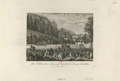 Die  Halleweiber ziehen nach Verseilles [sic] den Koenig abzuhohlen den <em>5</em> <em>October</em> <em>1789</em> : [estampe]