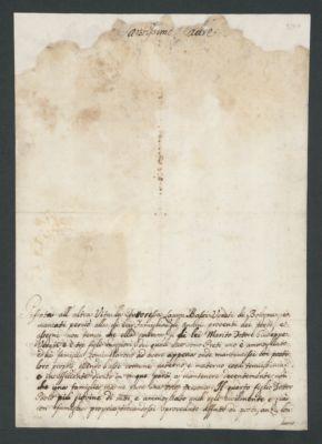 Supplica di Paolo Veratti a papa Pio VI per ottenere un assegno dall' Opera dei Poveri Vergognosi per sé e la sua famiglia, con rescritto, 1785