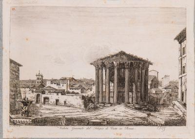 Foro Boario. Tempio di Vesta visto dalla piazza antistante con Trastevere nello sfondo
