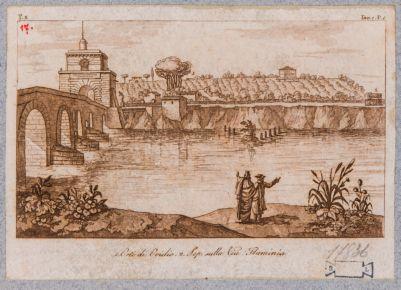 Ponte Milvio, scorcio dalla riva sinistra con la torre restaurata da Pio VII nel 1805