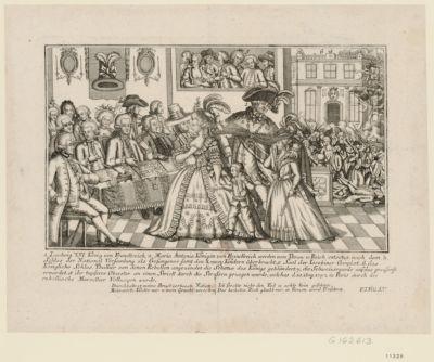 1. Ludwig der Sechzehnte, König von Franckreich. 2. Maria Antonia Königin von Franckreich werden vom Thron u Reich entsetzt nach dem 3. Schloss der National Versamlung als gefangener samt den 4. zwei Kindern überbracht... : [estampe]