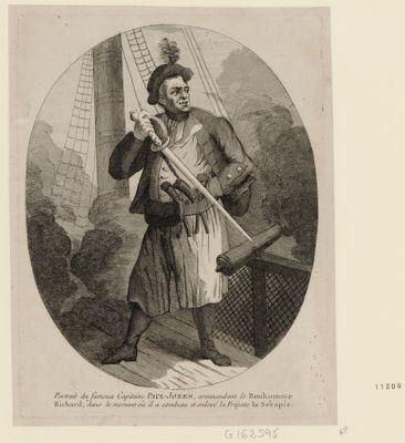 Portrait du fameux capitaine Paul Jones, commandant le Bonhomme Richard, dans le moment où il a combattu et enlevé la frégate la Sérapis [estampe]