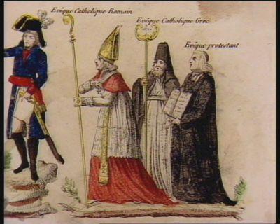 [Bonaparte réconciliant les ministres des principaux cultes] [estampe]
