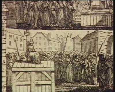 [<em>Q</em>. Femmes exposées sur l'échafaud pour avoir été solliciter la liberté de leurs maris ou de leurs frères, auprès des representans du peuple à Lyon] [estampe]