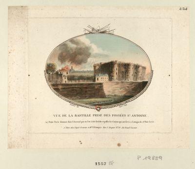 Vue de la Bastille prise des fossées St Antoine petite porte donnant dans l'Arcenal par ou l'on à fait brêche et passer les canons qui ont servi a l'attaque du 2.<em>e</em> pont levie : [estampe]
