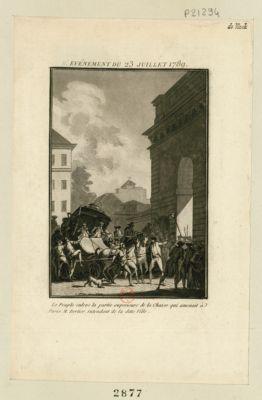 II.e événement du 23 juillet 1789 le peuple enlève la partie supérieure de la chaise qui amenait à Paris M. Bertier, intendant de la ditte ville. : [estampe]