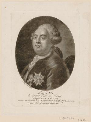 Louis XVI le dernier Roi de France naquit le 23 août 1754 monta sur le trône le 10 mai 1774 & sur l'echaffaud le 21 janv. 1793. O mon Roi, l'univers t'abandonna : [estampe]