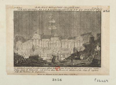 Bal, <em>illumination</em> champêtre sur les ruines de la Bastille, le 18, 19 et 20 juillet 1790 ce spectacle original et pittoresque offroit tout à la fois la joie la plus pure, quoi que mêlée d'une teinte de mélancolie. A la decente dans les fossés, on découvrait des restes de cachots, asile des victimes du despotisme : [estampe]