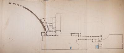 Terme di Diocleziano, pianta di parte dell'esedra e degli edifici adiacenti