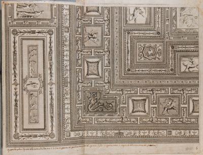 Quarto di volta dipinto nelle Terme di Tito ove è la famosa pittura del Coriolano intagliata nel seguente foglio. In questa stanza fu trovata la bellissima statua del Laocoonte