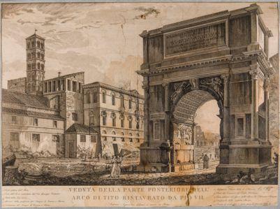 Arco di Tito visto di 3/4 con sfondo del convento di S. Francesca Romana