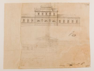 Piazza del Popolo. Convento degli Agostiniani, facciata laterale, progetto
