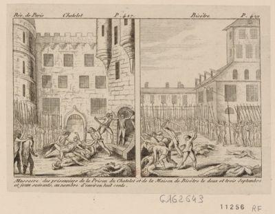 Châtelet Bicêtre : <em>massacre</em> des prisonniers de la prison du Châtelet et de la maison de Bicêtre le deux et trois septembre et jours suivants, au nombre d'environ huit cents : [estampe]