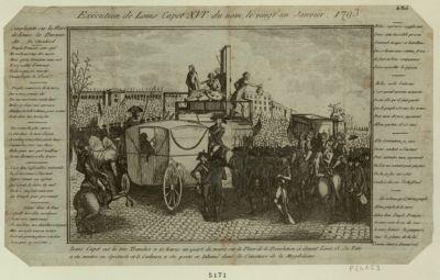 Exécution de Louis Capet XVI.e du nom, le vingt-un janvier, 1793 Louis Capet eut la tête tranchée a 10 heures un quart sur la place de la Revolution ci devant Louis 15. Sa tete a été montré en spectacle et le cadavre a été porté et inhumé dans le cimetière de la Magdelaine... : [estampe]