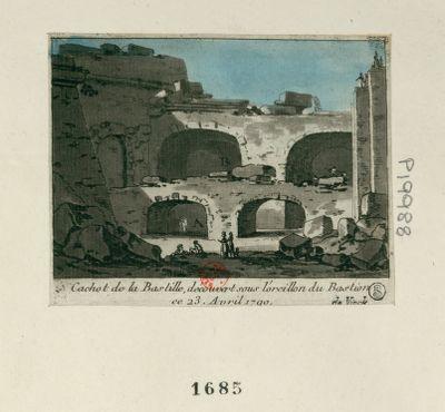 Cachot de la Bastille découvert sous l'oreillon du bastion le 23 avril 1790 [estampe]