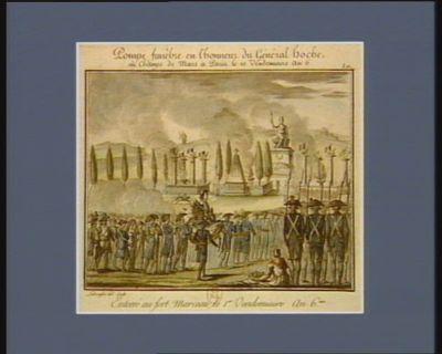Pompe funèbre en l'honneur du général Hoche, au Champs de Mars à Paris le 10 vendemiaire an 6.me enterré au fort Marceau le 1.er vendemiaire an 6.me : [estampe]