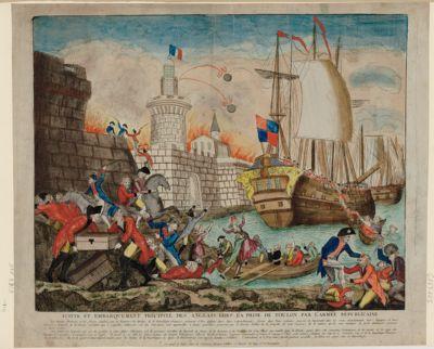 Fuite et embarquement précipité des Anglais lors de la prise de Toulon par l'armée républicaine [estampe]