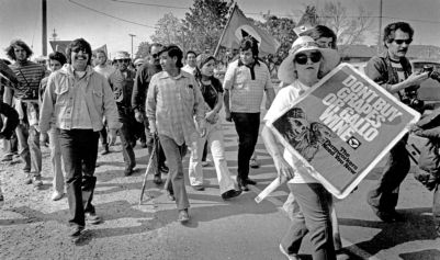 Cesar Chavez (center, holding cane), Gallo march, 1975