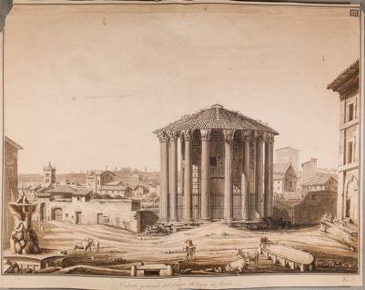 Foro Boario, veduta del tempio di Vesta dalla piazza antistante