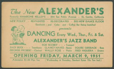 Postcard for opening night at Alexander's featuring Bob Scobey Jazz Band, Alexander's was the former Hambone Kelly's