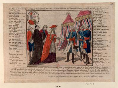 Le  General Buonaparte fait la paix avec le pape au nom de la Republique française [estampe]