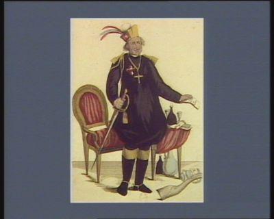Effigie d'un prelat belge* colonel proprietaire de plusieurs regimens de cavalerie infanterie et chasseurs donnant un brevet de capitaine pour l'armée rebelle. * l'abbé de Tongerloo : [estampe]