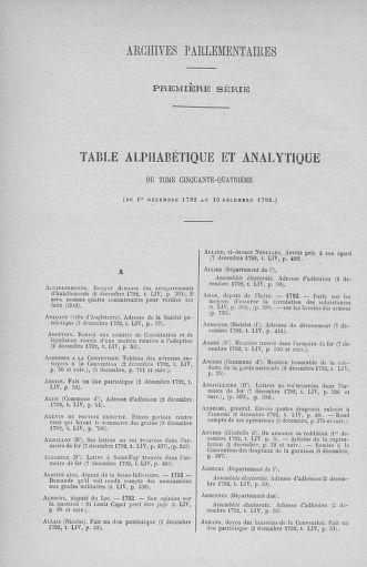 Tome 54 : Du 1er au 10 décembre 1792 - page ..
