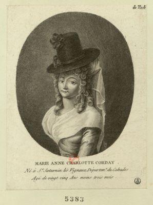 Marie Anne charlotte Corday né à St Saturnin... : [estampe]