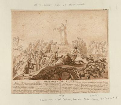 Jesus-Christ sur la montagne Jesus-Christ traversant la montagne, une foule de peuple le suivit, et la s'étant arrêté, il leur répèta cette parabole... : [estampe]