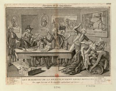 Héritiers de la constitution les malheurs de la France furent leurs ouvrages, la rage, lerreur et la cupidité enfantrent ces monst[re]s : [estampe]