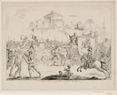 Arrestation du Roi et de sa famille désertant le royaume le Roi et sa famille étant partis furtivement de Paris, la nuit du <em>20</em> juin... : [estampe]