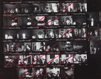 [Black tie party with Suzie Frankfurt, Lester Persky, John Reinhold, David Hockney, Henry Geldzahler, Divine, Allen Ginsberg, others]