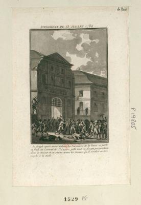 Evenement du 13 juillet 1789 le peuple après avoir délivré les prisonniers de la Force se porte en foule au couvent de St Lazare, pille tout en fesant perquisition dans la maison et en enleve toutes les farines qu'il conduit en triomphe à la halle : [estampe]