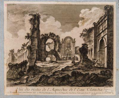 Acquedotto dell'Acqua Claudia con la fontana di Clemente XII e l'arco di Sisto V